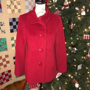 Ellen Tracy Ruby Red Pea Coat Size Small